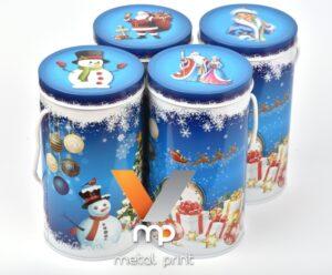 Металлическая упаковка для новогодних подарков с яркой литографией от Металл-Принт.
